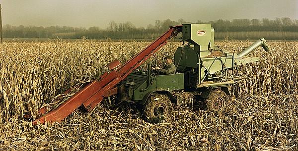Unimog 411 mit kombiniertem Maispflücker/Maisdrescher Anbaugerät